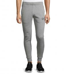 Grey Cotton-Blend Joggers