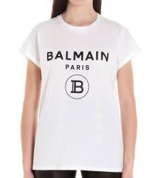 Balmain White Glittered Logo T-Shirt