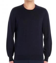 Navy Blue Solid Basic Sweater