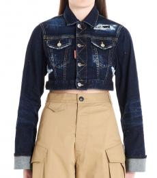 Dsquared2 Dark Blue Cropped Denim Jacket