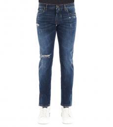Dolce & Gabbana Dark Blue Logo Ribbed Jeans
