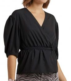 Black Wrap Mary Top