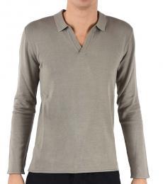 Emporio Armani Taupe Silk Long Sleeves Polo