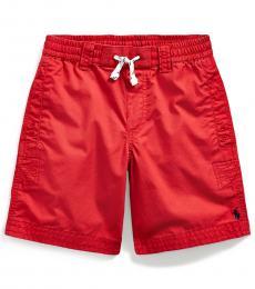 Little Boys Red Twill Drawstring Shorts