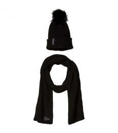 Calvin Klein Black Faux Fur Beanie & Scarf Set