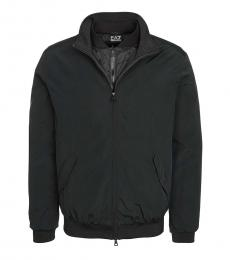 Black Solid Zipper Jacket