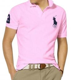 Ralph Lauren Pink Navy Custom Fit Big Pony Polo