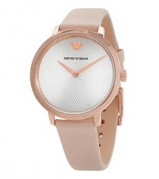 Emporio Armani Pink Silver Dial Watch