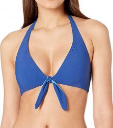 Kate Spade Capri Blue  Beach Reversible Tie Bikini Top