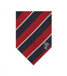 Versace Navy Red Stripe Tie