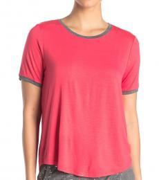 DKNY Red Crew Neck Sleep Shirt