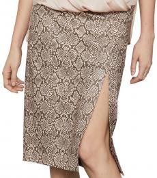 BCBGMaxazria Brown Faux Leather Snake Print Midi Skirt