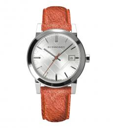 Burberry Shiny Red-Silver City Logo Watch