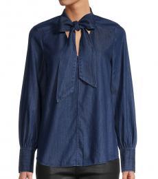 Kate Spade Indigo Tie-Neck Denim Shirt