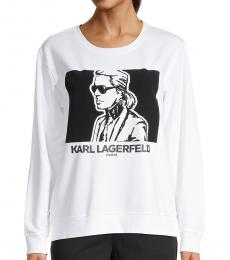Karl Lagerfeld Soft White Flocked Graphic Sweatshirt