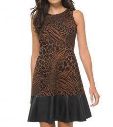 Michael Kors Caramel Printed Faux-Leather Trim Dress
