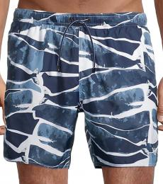 Emporio Armani Blue Printed Swim Shorts