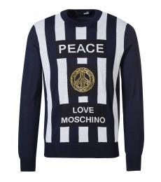 Love Moschino Dark Blue Front Logo Sweater