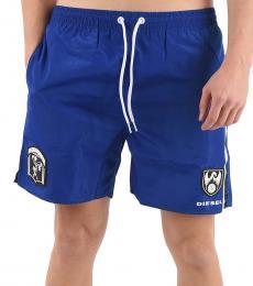 Diesel Royal Blue Logo Print Swim Shorts