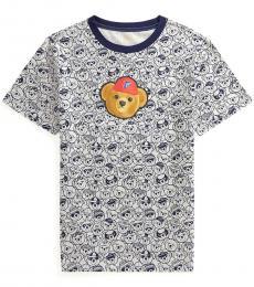 Ralph Lauren Boys Heather Navy P-Wing Polo Bear T-Shirt