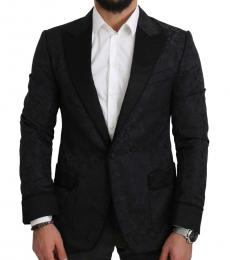 Black Jacquard Slim Fit Peak Blazer