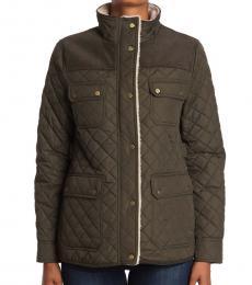 Ralph Lauren Litchfield Quilted Corduroy Fleece Trimmed Jacket