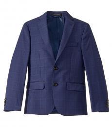 Ralph Lauren Boys Blue Windowpane Classic Suit Jacket
