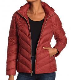Michael Kors Maroon Short Packable Puffer Jacket