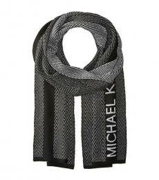 Michael Kors Silver Black Herringbone Logo Scarf