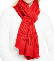 Red Logo Open-knit Blocked Scarf