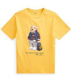 Ralph Lauren Boys Gold Bugle Rugby Bear T-Shirt
