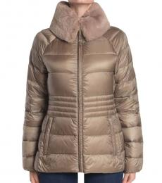 Michael Kors Taupe Faux Fur Trim Quilted Puffer Jacket