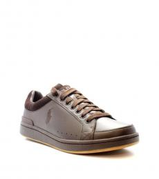 Ralph Lauren Brown Talbert Leather Sneakers