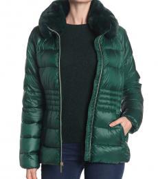 Michael Kors Dark Emera Faux Fur Trim Quilted Puffer Jacket