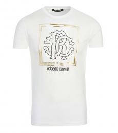 Roberto Cavalli White Graphic Logo T-Shirt
