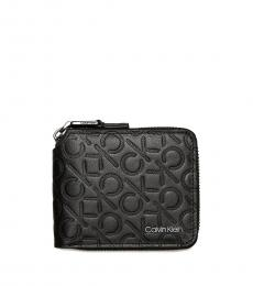 Calvin Klein Black Monogram Logo Compact Zip Wallet