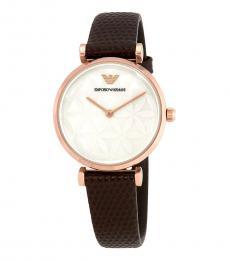 Emporio Armani Brown Silver Dial Watch