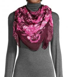 Roberto Cavalli Violet Pink Floral Chiffon Scarf