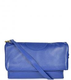 Tory Burch Blue Kipp Foldover Large Crossbody