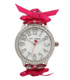 Betsey Johnson Pink Lace Up Watch