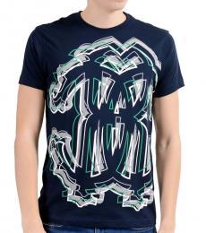 Dark Blue Graphic Crewneck T-Shirt