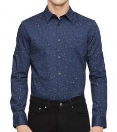 Speckled Blue Paisley Dot Shirt