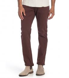 Dark Brown Straight Clean Pocket Jeans