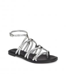 Silver Sarle Strappy Flats