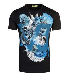 Versace Jeans Black Graphic Printed T-Shirt