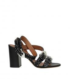 Black Studded Strap Heels