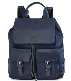 Tory Burch Navy Quinn Drawstring Large Backpack