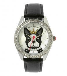 Silver Black French Bulldog Watch