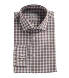 Grey Purple Slim Fit Stretch Gingham Dress Shirt
