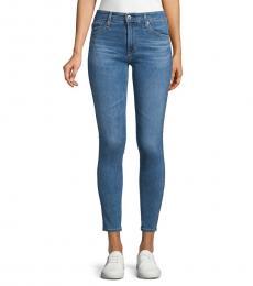 Dark Blue Mid-Rise Skinny Ankle Jeans